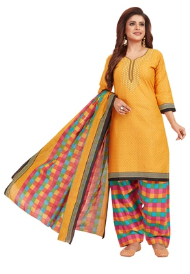 Women's Orange & Multicolor Synthetic Printed Unstitch Dress Material with Dupatta
