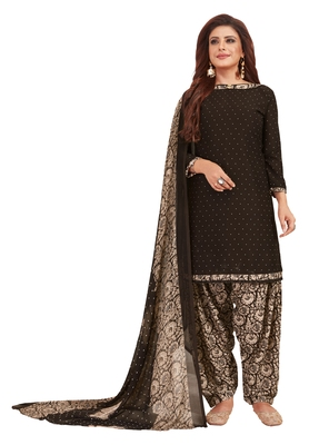 Women's Coffee & Beige Synthetic Printed Unstitch Dress Material With Dupatta