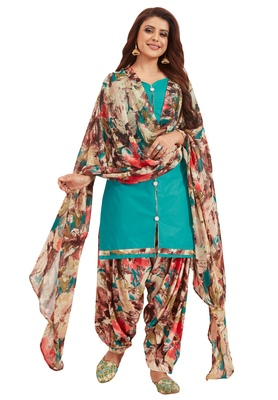 Women's Turquoise & Brown Synthetic Printed Unstitch Dress Material With Dupatta