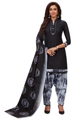 Women's Black & Grey Cotton Printed Unstitch Dress Material with Dupatta