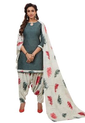Women's Grey & Cream Cotton Printed Unstitch Dress Material with Dupatta