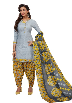 Women's Grey & Yellow Cotton Printed Unstitch Dress Material with Dupatta