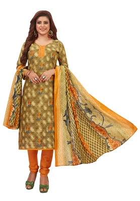 Women's Olive & Orange Pure Lawn Cotton Printed Unstitch Dress Material with Dupatta