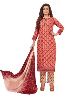 Women's Coral & Beige Pure Lawn Cotton Printed Unstitch Dress Material with Dupatta