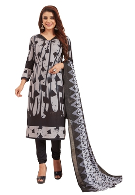 Women's Black & Grey Pure Lawn Cotton Printed Unstitch Dress Material with Dupatta