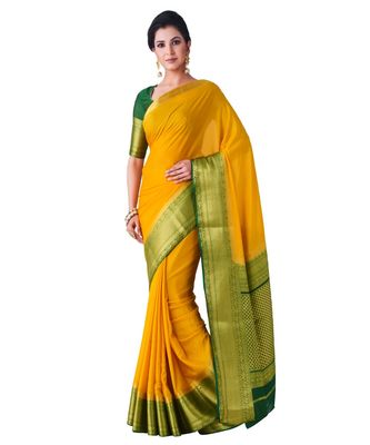 yellow woven crepe saree with blouse