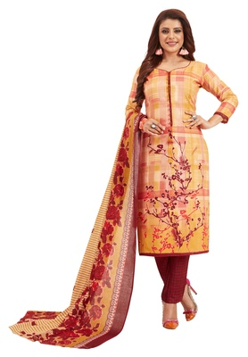 Women's Gold & Maroon Pure Lawn Cotton Printed Unstitch Dress Material with Dupatta