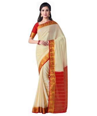 Beige Woven Crepe Saree With Blouse