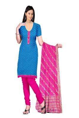 Blue Lace Patti Silk Royal Butti Jaquard Unstitched Straight Dress Materials