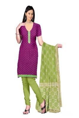 Purple Lace Patti Silk Royal Butti Jaquard Unstitched Straight Dress Materials