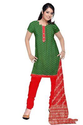 Dark Green Lace Patti Silk Royal Butti Jaquard Unstitched Straight Dress Materials