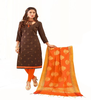 Brown Emborderi & Straight Glace cotton Unstitched Straight Dress Materials