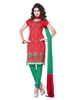 Multicolour embroidered chanderi unstitched salwar with dupatta