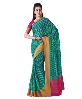 Teal Printed Chiffon Saree With Blouse