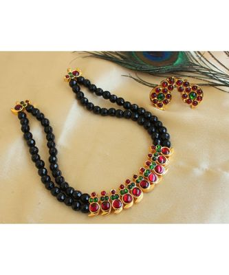 BEAUTIFUL BLACK AGATES KEMP-GREEN MANGO DESIGNER NECKLACE SET