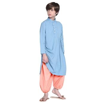 Blue Plain Cotton Boys Kurta Pyjama