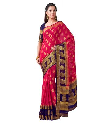 Pink Woven Chiffon Saree With Blouse