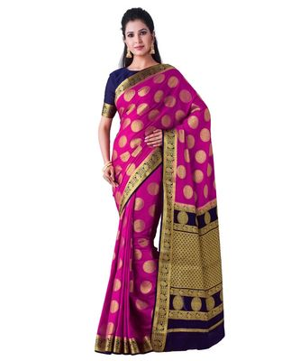 Pink Woven Crepe Saree With Blouse