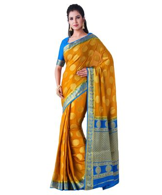 Mustard Woven Crepe Saree With Blouse