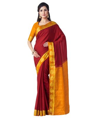 maroon woven crepe saree with blouse