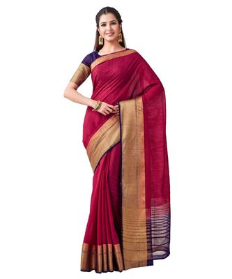 Maroon Woven Linen Saree With Blouse