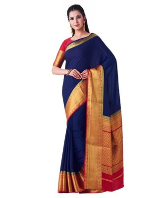 Blue Woven Crepe Saree With Blouse