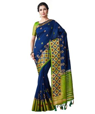 Blue Embroidered Tussar Silk Saree With Blouse