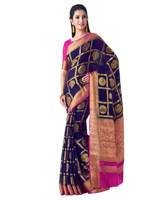 Blue Woven Chiffon Saree With Blouse