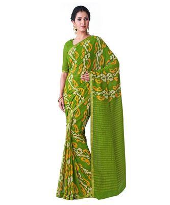 Green Printed Chiffon Saree With Blouse