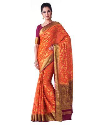 orange woven chiffon saree with blouse