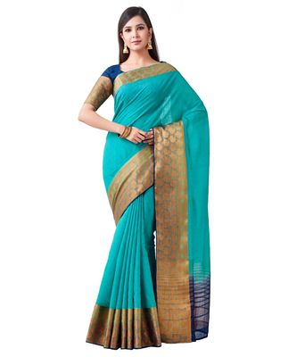 Turquoise Woven Linen Saree With Blouse