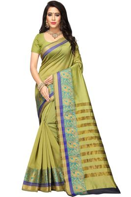 Olive woven cotton silk saree with blouse