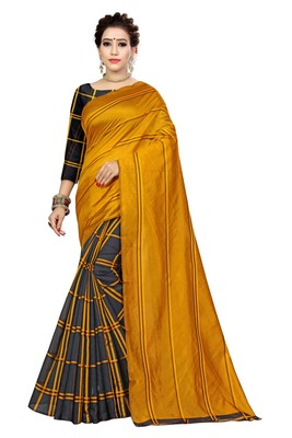 Mustard printed polyester saree with blouse