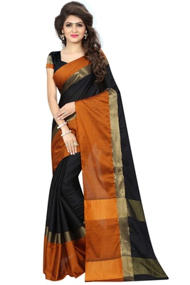 Black woven pure cotton saree with blouse