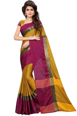 Mustard woven pure cotton saree with blouse