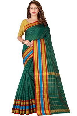 Teal woven poly cotton saree with blouse