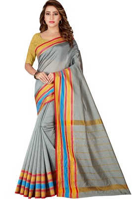 Grey woven poly cotton saree with blouse