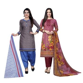 Grey floral print cotton salwar