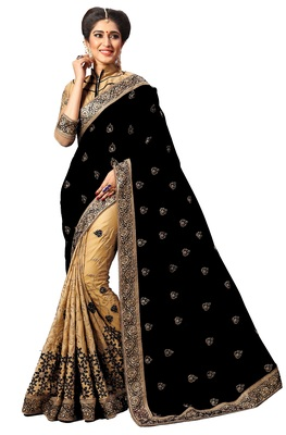 Black Embroidered art silk and net Saree with blouse