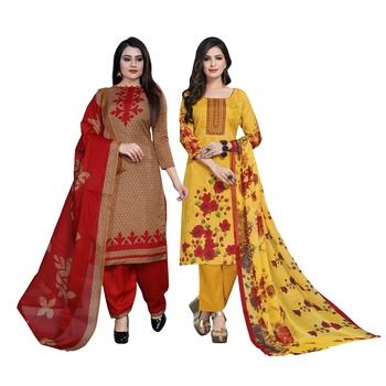 Light-brown floral print cotton salwar