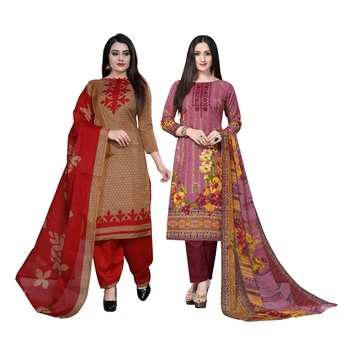 Light-brown floral print cotton salwar