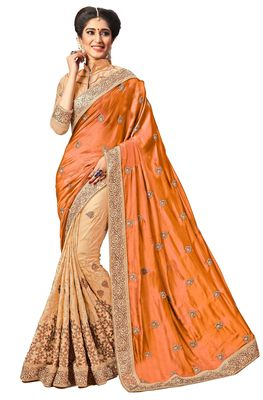 orange embroidered art silk and net saree with blouse