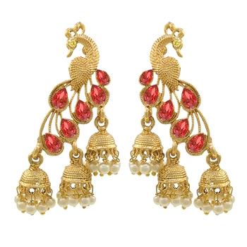 Saizen Multi Alloy Bridal & Daily - Set Of Peacock Drop Earring