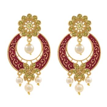 Gold Plated Meenakari Traditional Dangler Chandbali Pearl earing