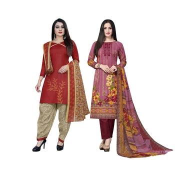 Red floral print cotton salwar