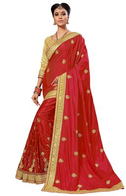 Red Embroidered art silk and net Saree with blouse