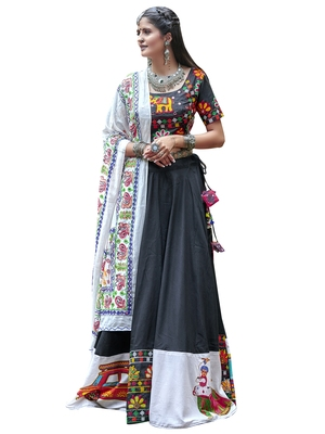 Black resham embroidery cotton semi stitched lehenga