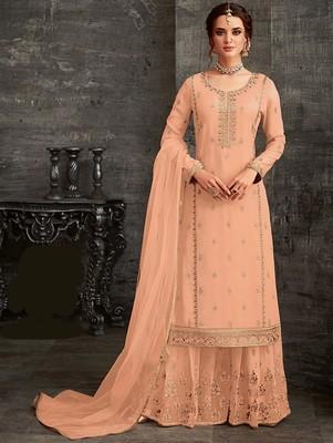 Peach Designer Faux Georgette Sharara Suit