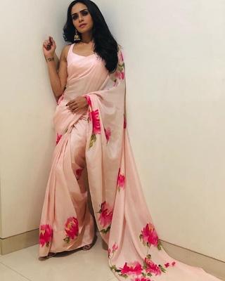Light pink printed satin saree with blouse