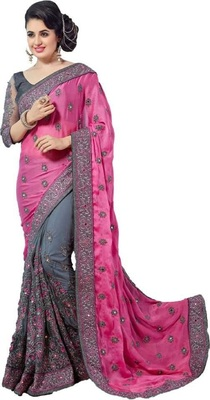 Pink embroidered raw silk saree with blouse